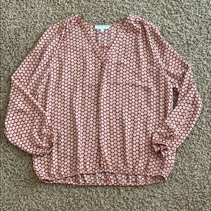 Chaus New York Red Beige Dot L/S Blouse Sz Large!